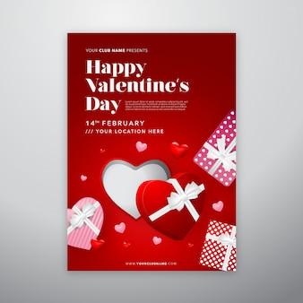 Affiche de la saint-valentin heureuse avec boîte-cadeau ouverte réaliste de la saint-valentin pour flyer ou couverture
