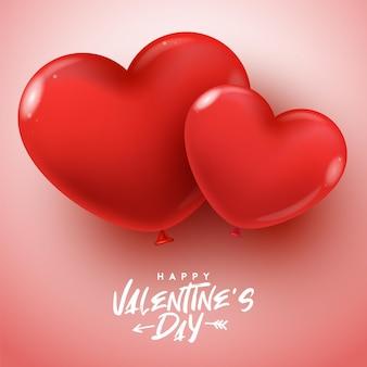 Affiche de la saint-valentin heureuse. illustration vectorielle avec des ballons de coeur réalistes. fond d'écran, flyers, invitation, affiches, brochure, bannières.