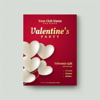 Affiche de la saint-valentin avec des illustrations de papier d'amour blanc découpé