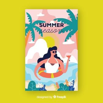 Affiche de la saison estivale dessinée à la main