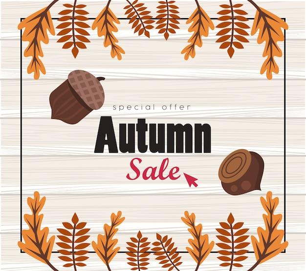 Affiche de saison de vente d'automne avec des noix et des feuilles.