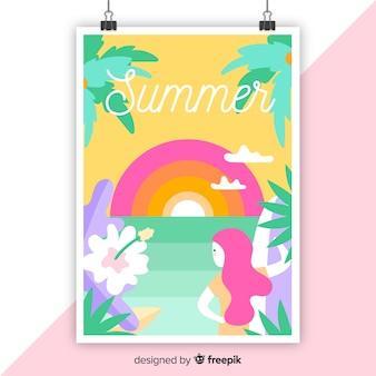 Affiche saisonnière colorée dessinée à la main