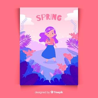 Affiche saisonnière dessiné main avec fille dans la nature