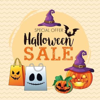 Affiche saisonnière de vente d'halloween avec des citrouilles portant un chapeau de sorcière et un lettrage de sacs à provisions