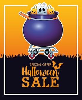 Affiche saisonnière de vente d'halloween avec des sacs à provisions dans un chariot de chaudron