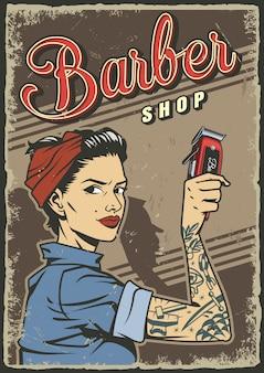 Affiche de salon de coiffure vintage