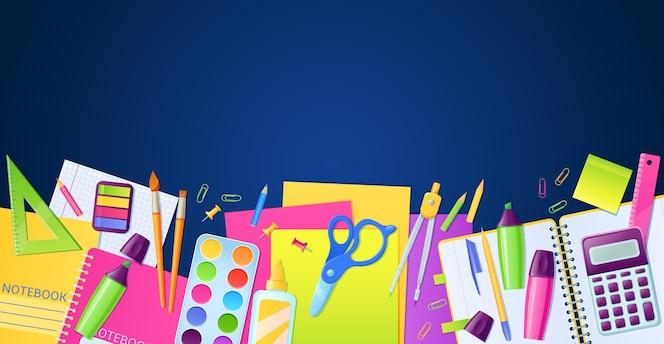 Affiche scolaire avec fournitures de papeterie et d'éducation pour les enfants étudient sur une surface bleue