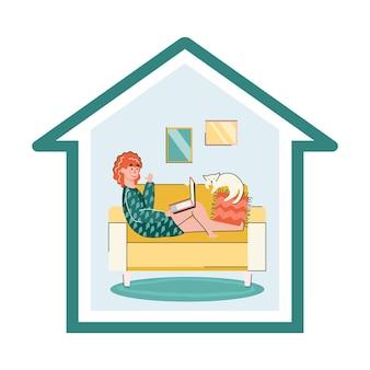 Affiche de séjour à la maison avec une femme de dessin animé utilisant un ordinateur portable sur un canapé dans un cadre de maison