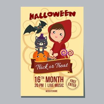 Affiche de la semaine d'halloween avec capuche fille
