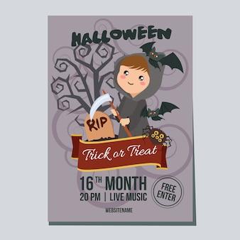 Affiche de la semaine d'halloween avec la fille de faucheuse