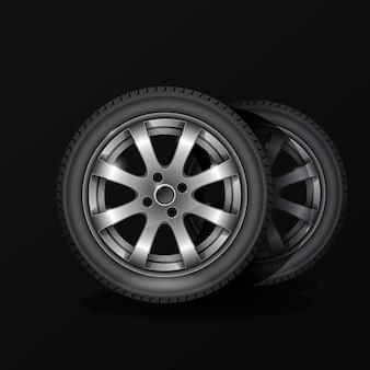Affiche de service de montage de pneus, pneu de roue de voiture avec jante en alliage sur fond noir