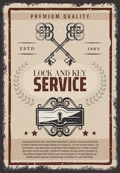 Affiche de service de serrure et de clés vintage avec clés anciennes ornementales et trou de serrure