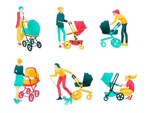 Affiche set caractère jeunes mères dessin animé plat.