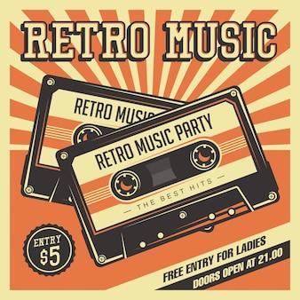 Affiche de signage vintage de cassette de retro music compact
