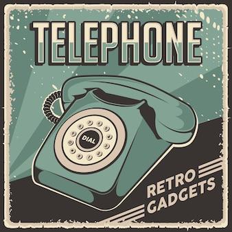 Affiche de signalisation téléphonique rétro classique de gadgets vintage