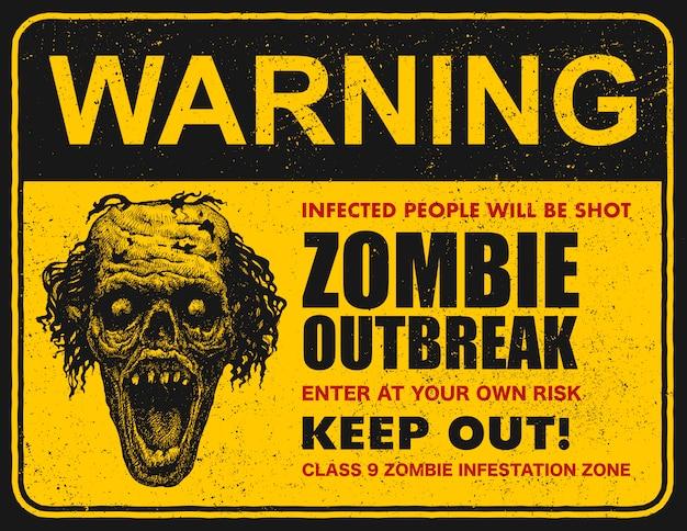 Affiche de signe de flambée de zombies
