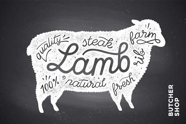 Affiche avec silhouette d'agneau rouge. caractères