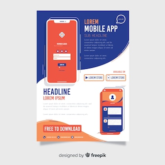 Affiche simple d'application mobile