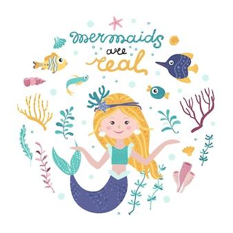 Affiche avec sirène, animaux marins et lettrage
