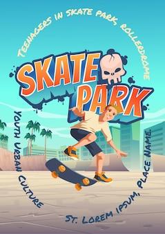 Affiche de skate park avec un garçon à cheval sur une planche à roulettes