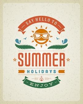 Affiche avec le slogan de vacances d'été