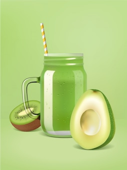 Affiche de smoothie aux fruits vecteur réaliste.