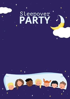 Affiche de soirée pyjama pour enfants dans un style pyjama. carte avec texte sur fond bleu. des enfants de différentes nationalités dorment ensemble sur un oreiller, une lune endormie et des étoiles. télévision illustration vectorielle
