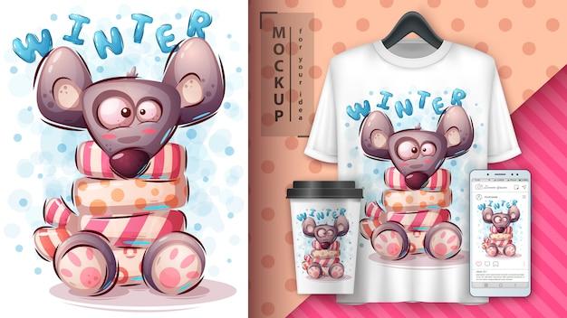 Affiche de souris d'hiver et merchandising