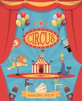 Affiche de spectacle de cirque incroyable