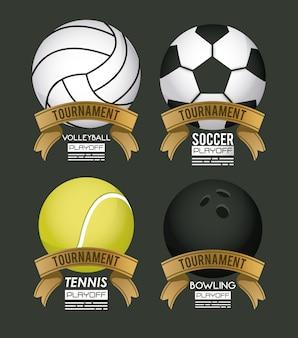 Affiche de sport avec des ballons