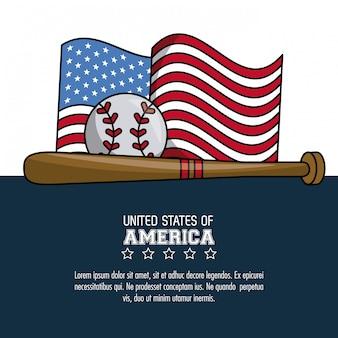 Affiche de sport de baseball usa avec design graphique d'informations vectorielles