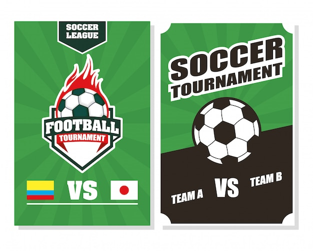 Affiche de sport de football de football avec des ballons en feu
