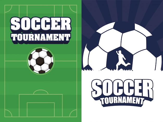 Affiche de sport de football de football avec camp et ballon