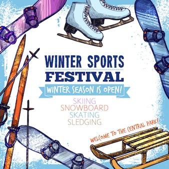 Affiche sport d'hiver