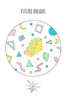 Affiche de style abstrait memphis avec des formes géométriques et des escaliers.