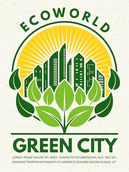 Affiche de style rétro sur le thème de l'éco.