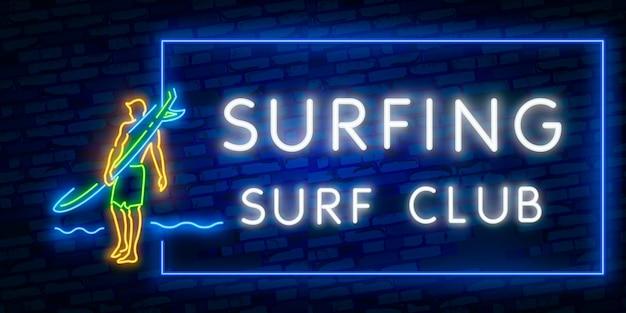 Affiche de surf en néon