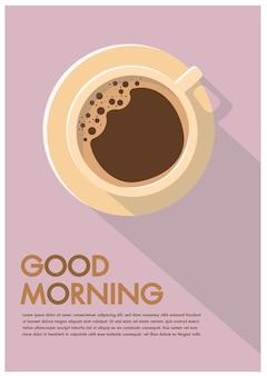 Affiche de la tasse à café publicité à plat good morning hipster flayers