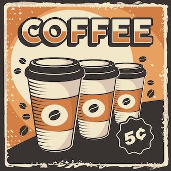 Affiche tasse à café rétro classique rustique