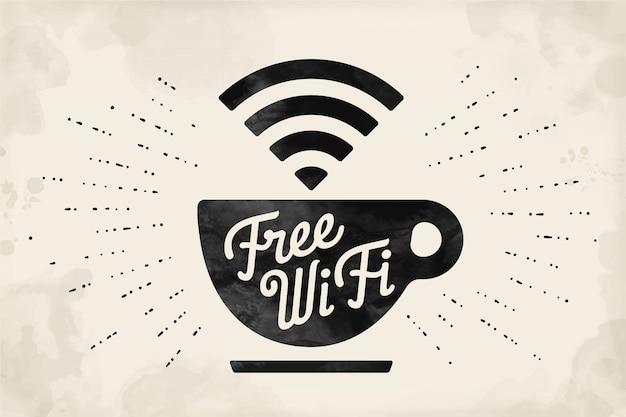 Affiche avec une tasse de café et texte wifi gratuit