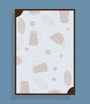 Affiche avec des tasses et des feuilles de pots de café