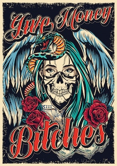 Affiche de tatouage chicano coloré