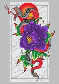 Affiche de tatouage de conception de serpent balinais
