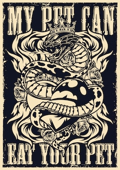 Affiche de tatouage flash monochrome vintage