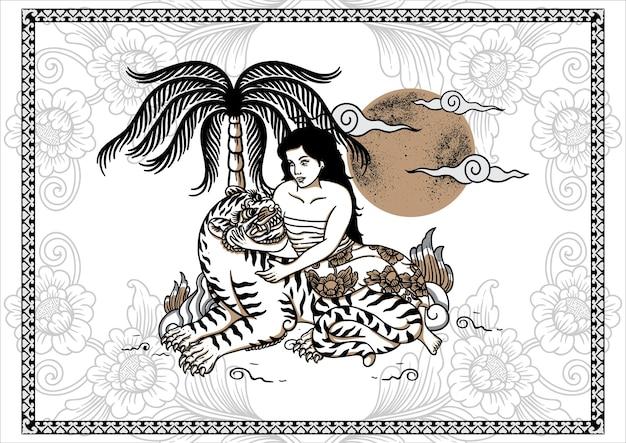Affiche de tatouage de tigre et fille balinais