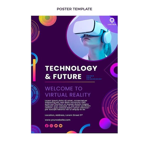 Affiche De Technologie De Texture Dégradée Vecteur gratuit