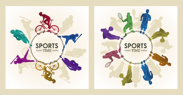 Affiche de temps de sport avec des chiffres d'athlètes