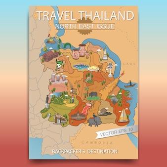Affiche thaïlande du nord-est de voyage