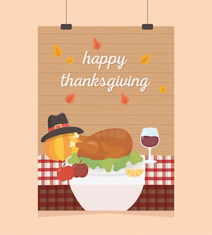 Affiche de thanksgiving heureux suspendu table de citrouille