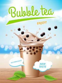 Affiche de thé aux bulles. lait qui coule de délicieuses boissons au tapioca avec une pancarte promotionnelle éclaboussures.